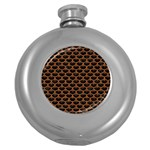 SCALES3 BLACK MARBLE & RUSTED METAL (R) Round Hip Flask (5 oz) Front