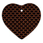 SCALES3 BLACK MARBLE & RUSTED METAL (R) Heart Ornament (Two Sides) Front