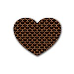 SCALES3 BLACK MARBLE & RUSTED METAL (R) Rubber Coaster (Heart)  Front