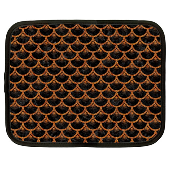 SCALES3 BLACK MARBLE & RUSTED METAL (R) Netbook Case (Large)
