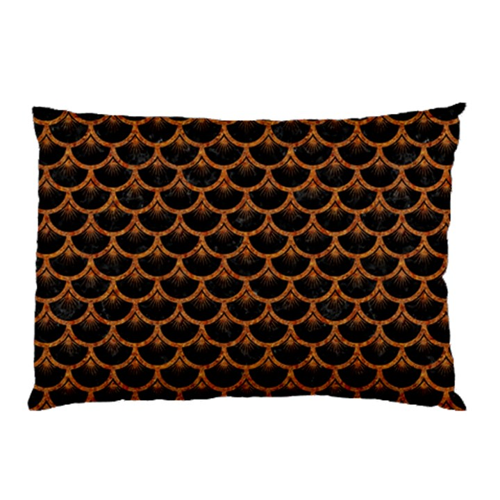SCALES3 BLACK MARBLE & RUSTED METAL (R) Pillow Case