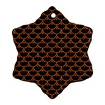 SCALES3 BLACK MARBLE & RUSTED METAL (R) Snowflake Ornament (Two Sides) Front