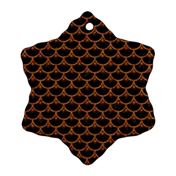 SCALES3 BLACK MARBLE & RUSTED METAL (R) Snowflake Ornament (Two Sides)
