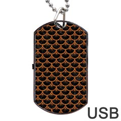 Scales3 Black Marble & Rusted Metal (r) Dog Tag Usb Flash (one Side) by trendistuff