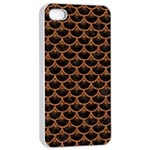 SCALES3 BLACK MARBLE & RUSTED METAL (R) Apple iPhone 4/4s Seamless Case (White) Front