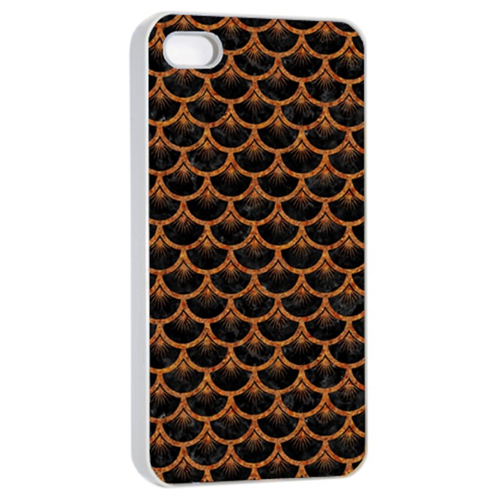 SCALES3 BLACK MARBLE & RUSTED METAL (R) Apple iPhone 4/4s Seamless Case (White)