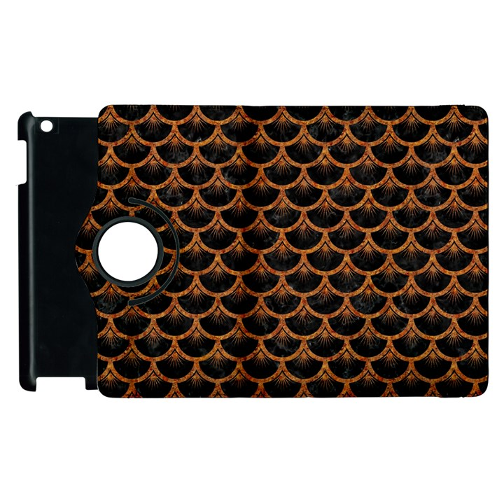 SCALES3 BLACK MARBLE & RUSTED METAL (R) Apple iPad 3/4 Flip 360 Case