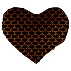 Scales3 Black Marble & Rusted Metal (r) Large 19  Premium Heart Shape Cushions