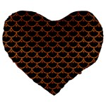 SCALES3 BLACK MARBLE & RUSTED METAL (R) Large 19  Premium Heart Shape Cushions Front