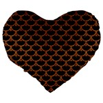 SCALES3 BLACK MARBLE & RUSTED METAL (R) Large 19  Premium Heart Shape Cushions Back