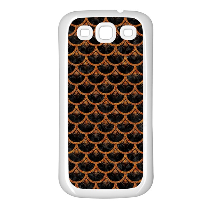 SCALES3 BLACK MARBLE & RUSTED METAL (R) Samsung Galaxy S3 Back Case (White)