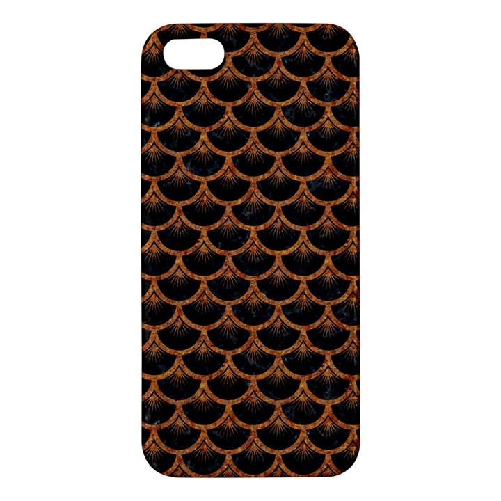 SCALES3 BLACK MARBLE & RUSTED METAL (R) iPhone 5S/ SE Premium Hardshell Case