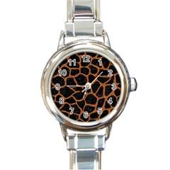 Skin1 Black Marble & Rusted Metal Round Italian Charm Watch
