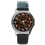SKIN1 BLACK MARBLE & RUSTED METAL Round Metal Watch