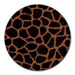 SKIN1 BLACK MARBLE & RUSTED METAL Round Mousepads Front