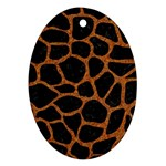 SKIN1 BLACK MARBLE & RUSTED METAL Ornament (Oval)
