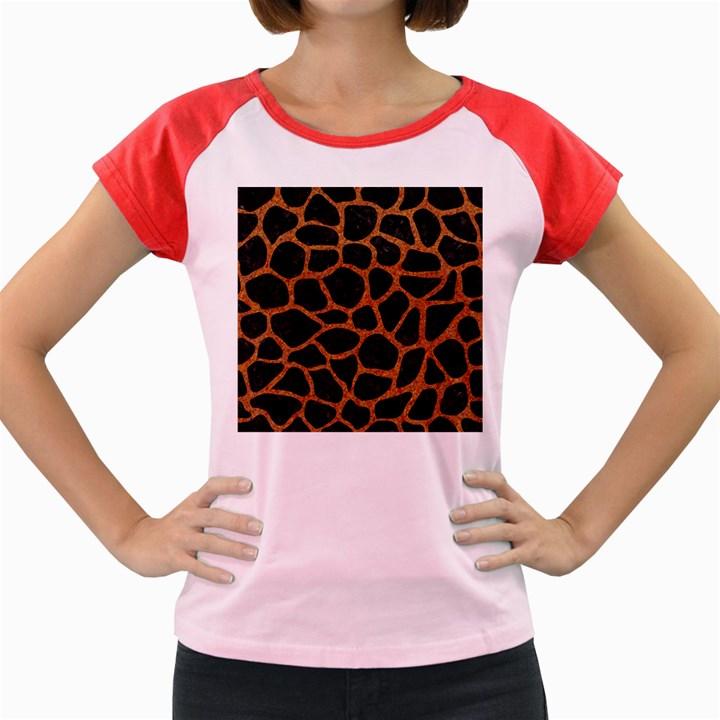 SKIN1 BLACK MARBLE & RUSTED METAL Women s Cap Sleeve T-Shirt