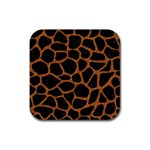 SKIN1 BLACK MARBLE & RUSTED METAL Rubber Coaster (Square)