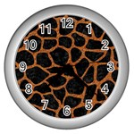 SKIN1 BLACK MARBLE & RUSTED METAL Wall Clocks (Silver)