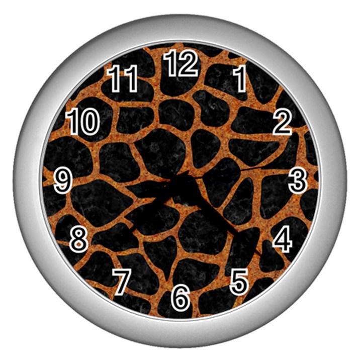 SKIN1 BLACK MARBLE & RUSTED METAL Wall Clocks (Silver)
