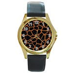 SKIN1 BLACK MARBLE & RUSTED METAL Round Gold Metal Watch