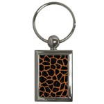 SKIN1 BLACK MARBLE & RUSTED METAL Key Chains (Rectangle)