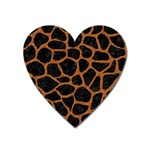 SKIN1 BLACK MARBLE & RUSTED METAL Heart Magnet