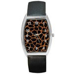SKIN1 BLACK MARBLE & RUSTED METAL Barrel Style Metal Watch Front