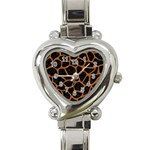 SKIN1 BLACK MARBLE & RUSTED METAL Heart Italian Charm Watch