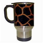 SKIN1 BLACK MARBLE & RUSTED METAL Travel Mugs (White)