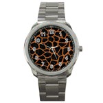 SKIN1 BLACK MARBLE & RUSTED METAL Sport Metal Watch