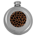 SKIN1 BLACK MARBLE & RUSTED METAL Round Hip Flask (5 oz)