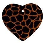 SKIN1 BLACK MARBLE & RUSTED METAL Heart Ornament (Two Sides)