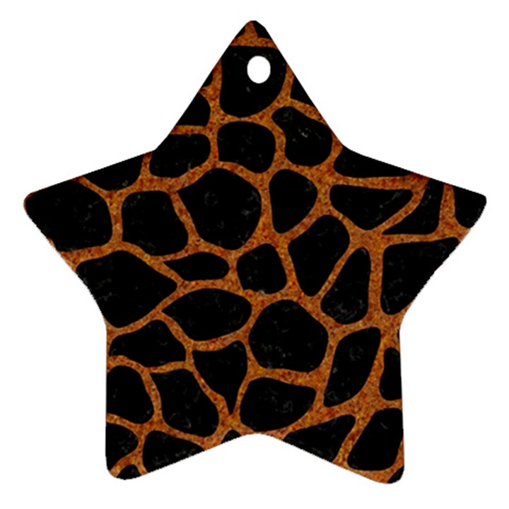 SKIN1 BLACK MARBLE & RUSTED METAL Star Ornament (Two Sides)