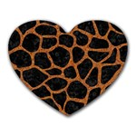 SKIN1 BLACK MARBLE & RUSTED METAL Heart Mousepads