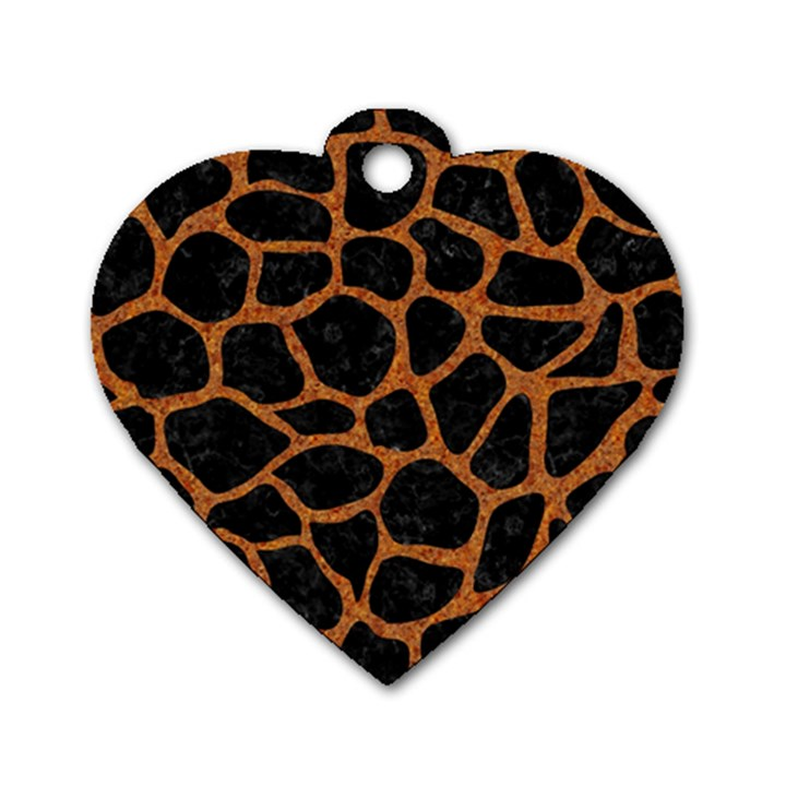 SKIN1 BLACK MARBLE & RUSTED METAL Dog Tag Heart (One Side)