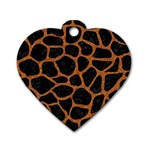 SKIN1 BLACK MARBLE & RUSTED METAL Dog Tag Heart (Two Sides)