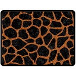 SKIN1 BLACK MARBLE & RUSTED METAL Fleece Blanket (Large)