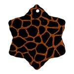 SKIN1 BLACK MARBLE & RUSTED METAL Snowflake Ornament (Two Sides)