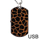 SKIN1 BLACK MARBLE & RUSTED METAL Dog Tag USB Flash (Two Sides)