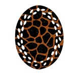 SKIN1 BLACK MARBLE & RUSTED METAL Oval Filigree Ornament (Two Sides)