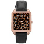 SKIN1 BLACK MARBLE & RUSTED METAL Rose Gold Leather Watch