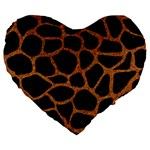 SKIN1 BLACK MARBLE & RUSTED METAL Large 19  Premium Flano Heart Shape Cushions