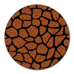 Skin1 Black Marble & Rusted Metal (r) Round Mousepads