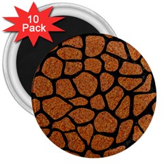 Skin1 Black Marble & Rusted Metal (r) 3  Magnets (10 Pack)  by trendistuff