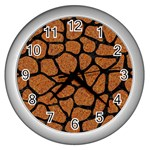 SKIN1 BLACK MARBLE & RUSTED METAL (R) Wall Clocks (Silver)  Front