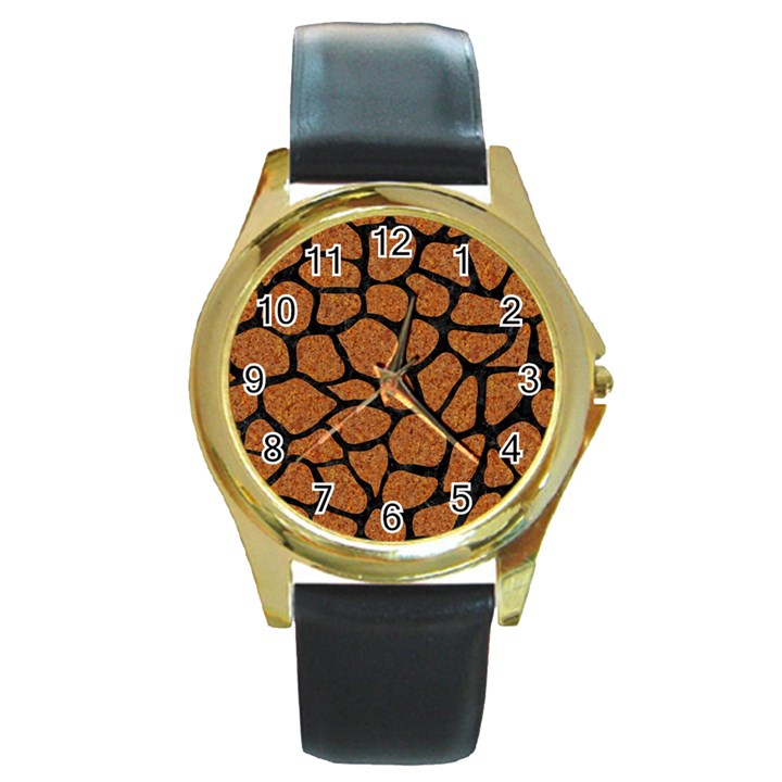 SKIN1 BLACK MARBLE & RUSTED METAL (R) Round Gold Metal Watch