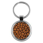 SKIN1 BLACK MARBLE & RUSTED METAL (R) Key Chains (Round)