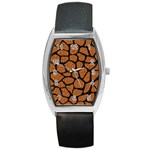 SKIN1 BLACK MARBLE & RUSTED METAL (R) Barrel Style Metal Watch Front