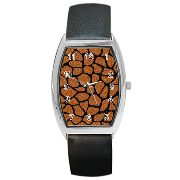 SKIN1 BLACK MARBLE & RUSTED METAL (R) Barrel Style Metal Watch
